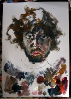 Selbstportrait 2012 (20x30cm; Tuschestift und Acryl auf Papier)