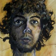 Selbstportrait 2011 (32x45cm; Acryl auf altem Papier)