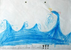 """Mir hat am besten gfalen der Atlantig!!!"" 20x30cm BuntsiftnBleistift, 1997"