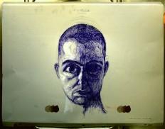 """""""Apocalypse"""" 30x40cm, Kugelschreiber und Acryl auf Offsetplatte, 1. Dezember 2012, Paris nach Komplettrasur"""