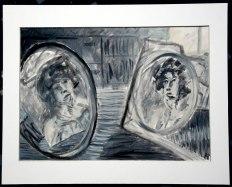 """""""Doppelspiegelportrait"""" 30x40cm, Öl auf Papier, 2009 im Atelier Pinkert"""