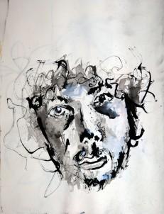 """""""Tuscheportrait"""" 20x25cm, Tusche im Skizzenbuch, Sommer 2011"""