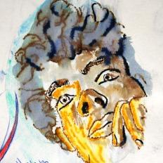"""""""Spiegelportrait"""" 20x30cm, wasserlösliche Filzstifte auf Spiegel, dann abgedrückt ins Skizzenbuch, 2010"""