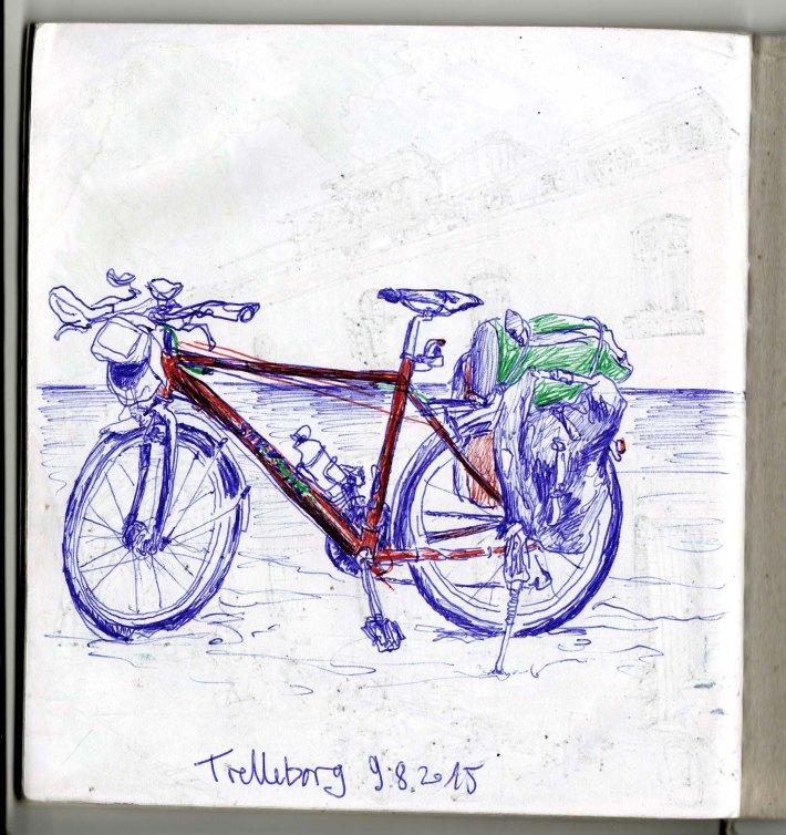 Mein Radl in Trelleborg am Strand. Habe einen Mann slawischer Herkunft getroffen. Wir haben gegenseitig Daumen-hoch-Fotos von uns geschossen. Ich mit seinem Tablett-PC, er mit meiner analogen Kamera. Film ist aber noch nicht voll...
