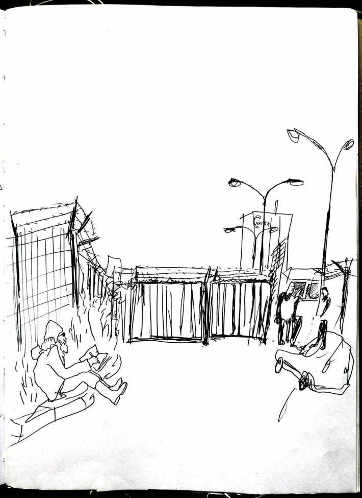 Die schwer bewachte Baustelle, mit Skippy, ein anderer Zeichner, der viele Eindrücke gesammelt hat.